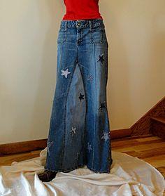Long Hippie Skirt Made to Order Long Jeans by DenimDiva2day