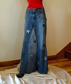 Another cute long denim skirt upcycled jeans