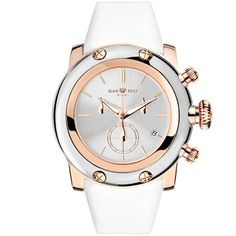 Glam Rock Watches / Rose Gold IP with Stainless Steel Case Cover and Patent Genuine Leather White Strap