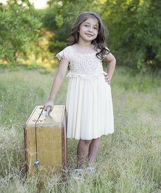 Beige and Ivory Flower Girl Dress