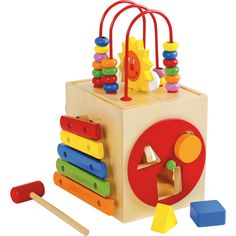 Quality German Made activity cube to encourage fine motor skills. 5 different activities to encourage learning through play. Clock face, 2 shape sorters, xylophone and wooden beads on bow shaped tracks will encourage little fingers to explore. Wooden Toy Boxes, Wooden Baby Toys, Wooden Puzzles, Wood Toys, Cubes, Table Activities For Toddlers, Activity Cube, Cube Toy, Toys For 1 Year Old