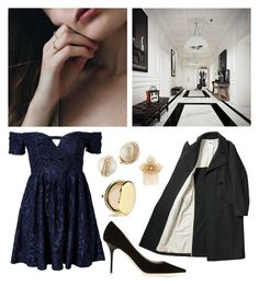 """102. Winter formal"" by wednesday12 ❤ liked on Polyvore featuring Miriam Haskell, Ginger Fizz, Jimmy Choo, Estée Lauder, Kate Spade, Prom, Winter, Blue, party and formal"