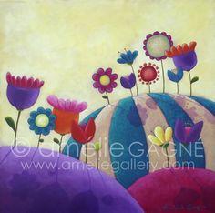 "Blooming Meadows  Acrylic on Board  24""x24"""