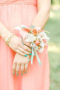 corsage for the bridesmaids, photo by The Nolans http://ruffledblog.com/magnolia-hill-wedding #weddingideas #flowers