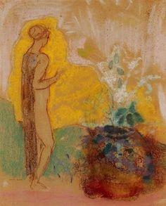"silenceformysoul: "" Odilon Redon - Woman and Stone Pot Full of Flowers """