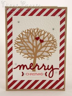 Merry Christmas card using Stampin Up Thoughtful Branches bundle & Christmas Greetings dies. By Di Barnes 2016 annual catalogue Merry Christmas Card, Stampin Up Christmas, Christmas Greetings, Handmade Christmas, Creative Class, Homemade Cards, Stampin Up Cards, Making Ideas, Projects To Try