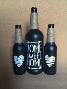 Home Sweet Home Painted Wine and Beer Bottles, set of three