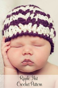 Crochet Pattern - An elegant crochet hat pattern that features an easy ripple stitch design. Suitable for babies, kids and adults. By Posh Patterns.