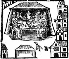 Dining scene from The Seamen's Wives' Frolick, Pepys Ballads