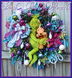 ON SALE- Christmas Wreath, Grinch Wreath, Whoville Wreath, Grinch and Max…