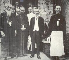 Chiang Kai-shek (right) with future Japanese Prime Minister Tsuyoshi Inukai (center), Pan-Asianist leader Tōyama Mitsuru (left) in Japan (1929)