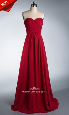 Long Chiffon ruched Sweetheart Aline Empire Formal Dress PLFD418