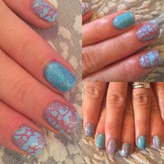 Dream In Colour: Turquoise & pink stars nails
