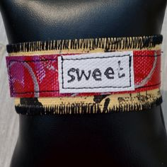 Cuff Bracelet Painted and Stitched Canvas Sweet by Amyma on Etsy, $15.00