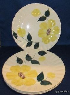 Bright yellow flowers will make any meal seem gourmet! Blue Ridge, Bright Yellow, Beautiful Patterns, Yellow Flowers, Baby Items, Meal, China, Tableware, How To Make