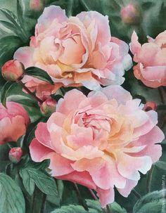 """Купить акварель """"Пионы"""" /не оформлена/ - розовый, пионы, цветы, лето, нежность, картина в подарок"""