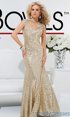 Long Gold Sequin High Neck Gown at SimplyDresses.com
