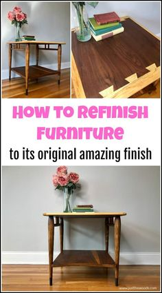 See how to refinish furniture to its original finish with this easy furniture refinishing technique. These furniture refinishing products are all natural and create amazing results. Lane Acclaim table makeover and restoration. Refinish Wood Furniture, Hand Painted Furniture, Repurposed Furniture, Furniture Plans, Furniture Makeover, Diy Furniture, Chair Makeover, Furniture Repair, Dining Table Makeover