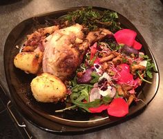 Sweet & sour stuffed chicken with girolle mushroom & edible flower salad