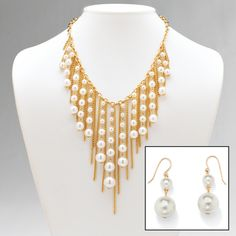 2 Piece Simulated Pearl and Chain Bib Necklace and Drop Earrings Set in Yellow Gold Tone at PalmBeach