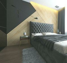Small Bedroom Ideas - All the bedroom design ideas you'll ever need. Find your style and create your dream bedroom scheme no matter what your spending plan, style or area size. Modern Bedroom Furniture Sets, Modern Master Bedroom, Modern Bedroom Design, Home Bedroom, Dream Bedroom, Bedroom Ideas, Wood Wall Design, Gray Bedroom Walls, Mid Century Bedroom