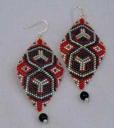 Vampire Kiss  Crimson Beadwoven Earrings by AutumnSkyAdornments, $50.00