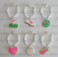 Fore! Love these golf wine charms.  They are magnetic too for easy attachment!