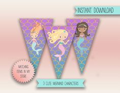 Printable Mermaid party banner, the characters are cute, great froa mermaid themed of under the sea party. #mermaidparty #partyprintables