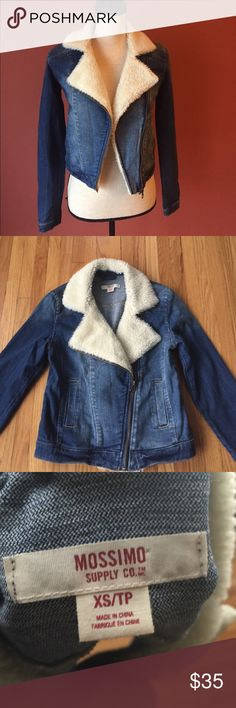 "Jean jacket Very cute jacket. Never worn but has no tags. Great condition. Length 20"", sleeve length 24"" Two functional pockets and zipper in the frontIn great condition. Worn once. Mossimo Supply Co Jackets & Coats Jean Jackets"