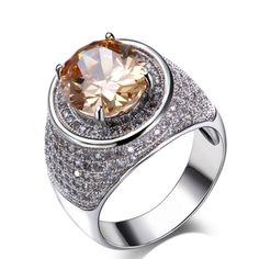 Dario - CZ Diamond Platinum Cocktail Ring - LA MIA CARA JEWELRY - 1
