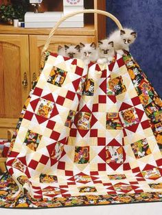 Animal-Inspired Quilts Free 8 Quilting Patterns for Animal-Inspired Quilts Use one of these free patterns to stitch up a quilt featuring a cute kitty cat, fish or even a deer! Make a quilt featuring a cat for your favorite feline-lover. That would make a purr-fect gift! Don't forget that all of these quilting patterns are free and instantly available to you to download. http://www.freepatterns.com/list.html?cat_id=431
