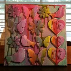 #8x8 #loveislove #canvas made with #acrylicpaint #woodshapes #acrylicstamps