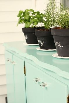 Terra-cotta pots spray-painted black/chalkboard. Clever! by virginia