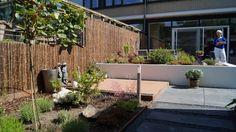 Strakke tuin met wit gestucte verhoogde borders en vlonderterras. Ontwerp en foto: Vicas Tuinontwerpen, www.vicas.nl.