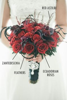 Bold wedding flowers with red ecuadorian roses and black feathers // Floral…