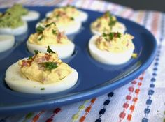 Serving Smoky Tomato Deviled Eggs (that are to die for) on Lapis Fiesta® Egg Tray ~ find the recipe at alwaysfestive.com   Fiesta Dinnerware, Always Festive