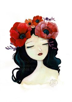 Flower Girl  5  Original Watercolor  by TheNebulousKingdom on Etsy