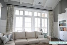 Geometric drapes with transoms curtains for family room ideas fireplace entertainment kids living definition Family Room Curtains, Living Room Drapes, Big Living Rooms, Living Room Windows, Home Living Room, Small Living, Transom Window Treatments, Window Treatments Living Room, Window Coverings