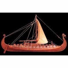 The Amati Nave Vikinga model is based on the famous 9th century Viking ship discovered at Oseberg, Norway in 1904. The plank-on-bulkhead construction features laser cut wood keel, frames and deck, and individual wood strips are provided for hull and deck planking. Wooden mast and yard, sailcloth, cotton rigging line, resin, hardwood fittings and authentic dragon figurehead are all included to allow you to outfit your model just like the original vessel.