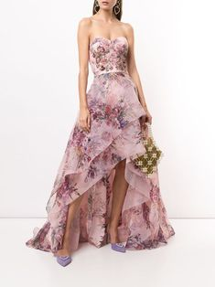 Floral Print Gowns, Printed Gowns, Strapless Organza, Strapless Dress Formal, Marchesa, Vestidos Color Rosa, Blush Gown, Gown Skirt, Embellished Gown