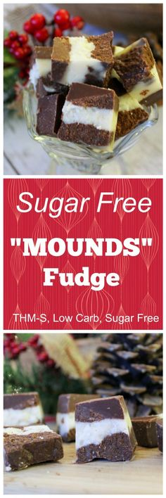 """Sugar Free """"Mounds"""" Fudge (THM-S, Low Carb, Sugar Free). Seenext two pins for either 2 or 3 ingredient sweetedpned condensed milk to use in this recipie"""