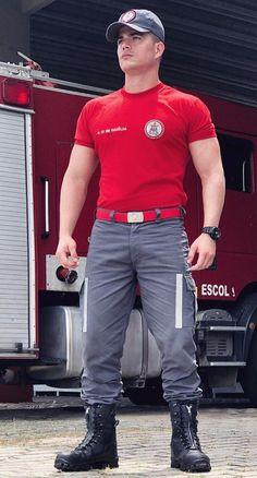 Ben is a firefighter Hot Firefighters, Sexy Military Men, Hot Cops, Men In Uniform, Bear Men, Fashion Moda, Ideal Man, Muscle Men, Cute Guys