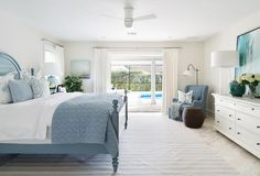 Coastal blue and white bedroom. Coastal bedroom with soothing light blue and white color palette. Coastal blue and white bedroom ideas #Coastalbedroom #blueandwhitebedroom Lischkoff Design Planning