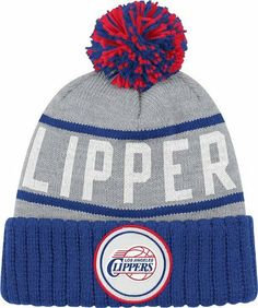 2e10fb713de MITCHELL  amp  NESS CUFFED KNIT POM BEANIE STRIPE LOGO NBA LOS ANGELES  CLIPPER - Price