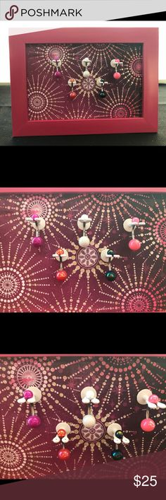 """Navel Ring display that will organize body jewelry Pink 4x6"""" tabletop frame with design, star bright sparkle background and 5 Nabel holders. 1 acrylic navel ring is included for Free with purchase of body jewelry display. Navel-Novelties Jewelry Necklaces"""