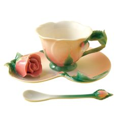 Garden Tea Party Set - This hand painted porcelain tea set is simply exquisite. A true work of art which will be adored by tea lovers everywhere. The set comes with teacup, saucer and spoon in a gift box. Choose your favourite flower deign or why not by the whole set. Available in 6 designs: Lily of the Valley, Rose, Narcissus, Cherry Blossom, Cherry or Hibiscus.