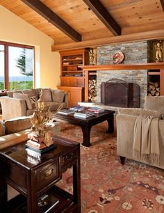 The interior features custom-designed elements in the Arts & Crafts vocabulary Craftsman Interior, Modern Craftsman, Craftsman Style Homes, Arts And Crafts House, Home Crafts, Cabin Homes, House Rooms, Home And Living, Living Rooms