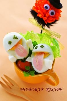 Boiled eggs for easy Halloween and Easter ♪ Cute ghost ♡ for character dial by * Momora *- Easy Halloween and Easter with boiled eggs ♪ Cute ghost chan - Toddler Meals, Kids Meals, Japenese Food, Miso Recipe, Helloween Party, Creative Food Art, Balanced Meals, Balanced Diet, Bento Recipes