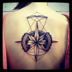 Barbe Rousse, geometrical abstract back tattoo