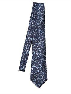 ERMENEGILDO ZEGNA 8CM SILK FLORAL JACUQARD TIE Luxury Shop, Floral Tie, Pajama Pants, Menswear, Silk, Clothes, Navy, Ideas, Fashion